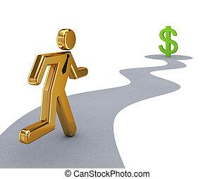dorato, segno., dollaro, persona correndo, piccolo, 3d