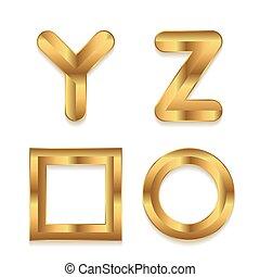 dorato, set, alphabet., letters., metallico, 3d