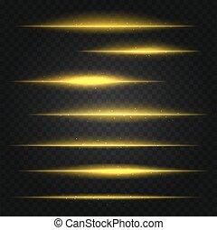 dorato, set, giallo, chiarori obiettivo, vettore, fondo, trasparente
