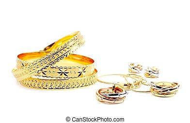 dorato, set, gioielleria
