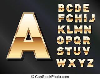 dorato, set, lettere