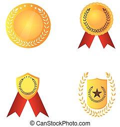 dorato, set, medaglie