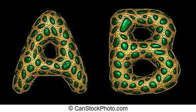 dorato, set, render, uno, realistico, metallic., b, lettera, 3d, fatto, lucente