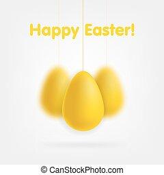 dorato, set, uova, isolato, fondo., bianco