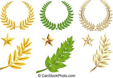 dorato, set, verde, elementi