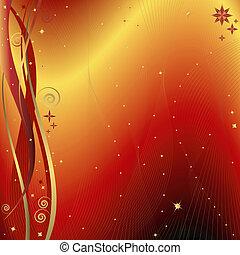 dorato, sfondo rosso, (vector), natale
