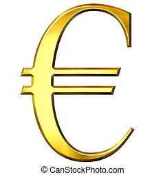 dorato, simbolo, 3d, euro