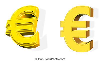 dorato, simbolo, bianco, 3d, sopra, euro