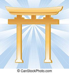 dorato, simbolo, torii, shinto, cancello