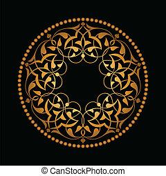 dorato, sopra, nero, ottomano, modelli