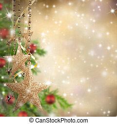 dorato, spazio, testo, libero, vetro, tema, stelle, Natale