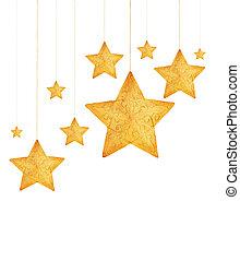 dorato, stelle, ornamenti albero natale