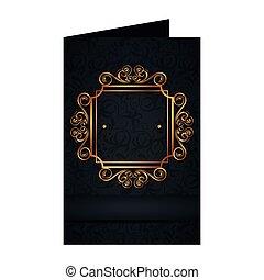 dorato, stile, quadrato, cartolina, etichetta, vittoriano