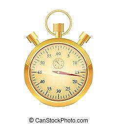 dorato, stopwatch., vettore, illustration.