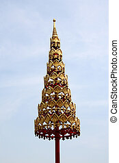 dorato, tailandia, ombrello, tempio, tiered