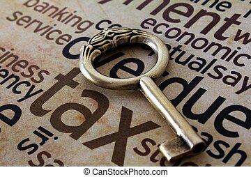 dorato, tassa, chiave