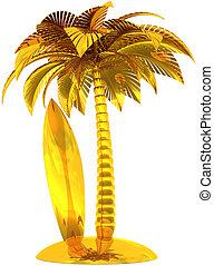 dorato, tavola da surf, palma, isola