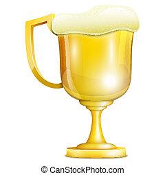 dorato, tazza, birra, schiuma