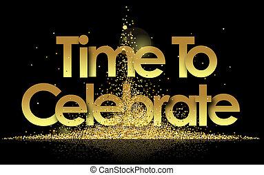 dorato, tempo, celebrare, stelle, fondo