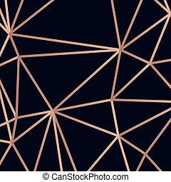 dorato, triangolo, linee, illustrazione, scuro, vettore, fondo