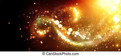 dorato, turbini, stelle, sopra, fondo., sfondo nero, natale, brillio