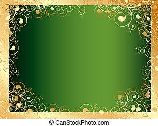 dorato, turbini, verde, cornice, spazio