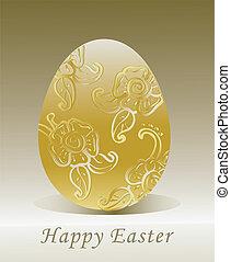 dorato, uovo di pasqua, con, floreale