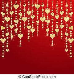 dorato, valentines, appendere, cuori, giorno, scheda