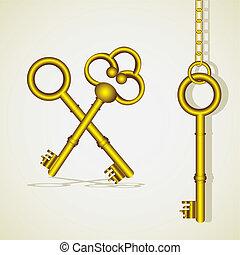 dorato, vecchio, chiave