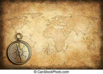 dorato, vecchio, mappa fondo, bussola, mondo, ottone, o