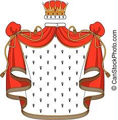 dorato, velluto, mantello, corona reale, rosso