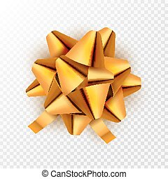 dorato, vettore, card., regalo, festivo, isolated., illustrazione, arco, decorazione, compleanno, oro, vacanza, nastro, celebrazione