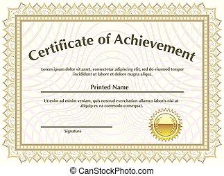 dorato, vettore, certificato, sigillo