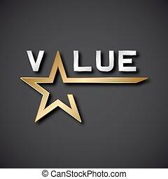 dorato, vettore, eps10, stella, valore