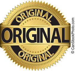 dorato, vettore, etichetta, originale