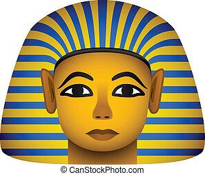 dorato, vettore, faraone, maschera, egiziano