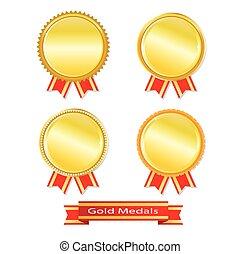 dorato, vettore, set, medaglie