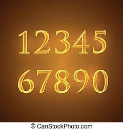 dorato, vettore, set, numeri