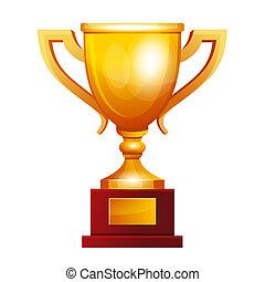 dorato, vincitore, tazza