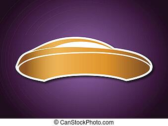 dorato, viola, auto, sopra, asse, logotipo