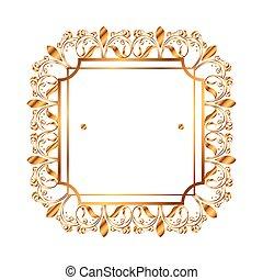 dorato, vittoriano, quadrato, stile, etichetta