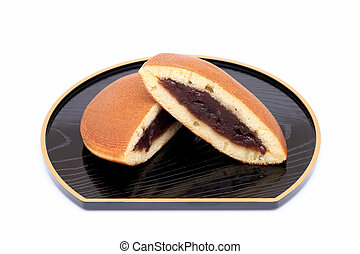 Dorayaki, Japanese confectionery on white background