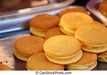 Dorayaki, japanese sweet pancakes at street food