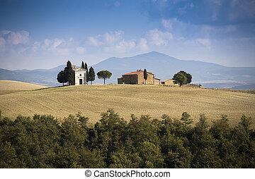 d'orcia, val, toskańczyk, krajobraz., tuscany, italy.
