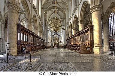 Dordrecht Cathedral - Interior of cathedral of Dordrecht,...
