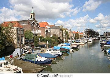 Dordrecht Harbor - Old harbor with boats in Dordrecht,...