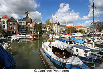 Dordrecht, Holland - Canal with boats in Dordrecht, Holland