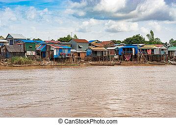 dorf, stadt, mekong, ksatr, gerecht, hauptstadt, gerufen, cambodia., noch ein, akreiy, penh, fluß, seite, phnom