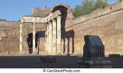 Doric pillars in archeological site in Rome, Hadrian's Villa...