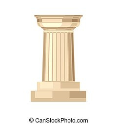 doric, realístico, antigüidade, grego, coluna mármore, isolado